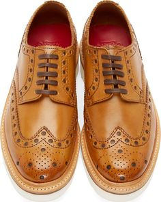 Grenson Tan Leather Archie Wingtip Brogues