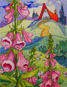 """Daily Paintworks - """"Moonlit Foxgloves Storybook Cottage Series"""" - Original Fine Art for Sale - © Alida Akers"""