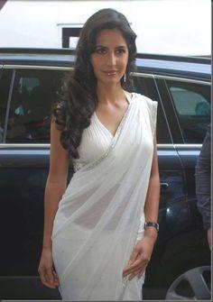 Boolywood Actress Katrina Kaif Hot & Sexy White Saree Stills.
