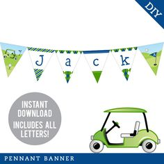 INSTANT DOWNLOAD Navy Golf Party - DIY printable pennant banner - Includes all letters, plus ages 1-19 by Chickabug on Etsy https://www.etsy.com/listing/178622825/instant-download-navy-golf-party-diy