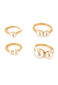 Faux Pearl Midi Ring Set | FOREVER21 - 1000119430