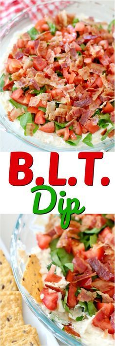 BLT Dip recipe from The Country Cook. #ad A creamy, cheesy flavorful dip topped with lettuce, tomato and bacon and served with Crunchmaster Crackers. #crunchmaster #dip #appetizer #party #dips #appetizer #party