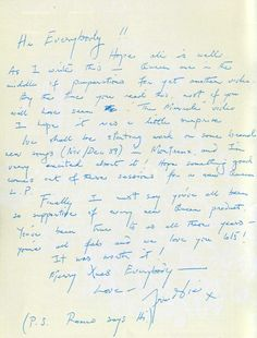 "Freddie's last letter to fans 1989:  Hi Everybody!  Hope all is well. As I write this- Queen are in the middle of preparations for yet another video. By the time you read this, most of you will have seen ""The Miracle"" video. I hope it was a little surprise. We shall be starting work on some brand new songs (Nov/ Dec '89) in Montreux, and I'm very excited about it! Hope something good comes out of these sessions for a new Queen L.P.  Finally I must say you've all been so supp"