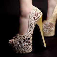 D79416 Kvoll Spring Night Club Sparkling Rhinestone Peep-toe High-heeled Pump Gold