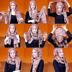 I love this hijab tutorial so much, I mostly love the fabric and the patterns. It looks so classy, easy to create and can be worn with many outfits. Here are the steps to creating this lovely look: Place… Hijab Chic, Stylish Hijab, Hijab Styles, Scarf Styles, Square Hijab Tutorial, Hijab Style Tutorial, Muslim Hijab, Muslim Dress, Islamic Fashion