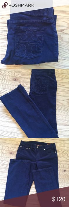 Classic Tory Burch Corduroy Pants 26 Excellent clean condition authentic TB Blue corduroy pants  26 x 34 Boot Cut Tory Burch Pants Boot Cut & Flare