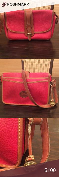Vintage Dooney & Bourke Shoulder Bag 80's/90's Vintage Dooney & Bourke All Weather Leather Red & Tan Shoulder Bag Pebbled RARE Dooney & Bourke Bags Shoulder Bags