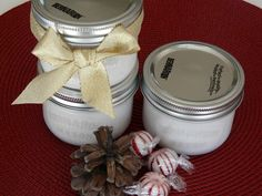 DIY Lotion: 1 jar vaseline, 1 bottle of baby lotion, 1 bottle of St Ives (Vitamin E).mix together and makes about 12 small jars of scented lotion. Add ribbon, fabric, topper and BAM!