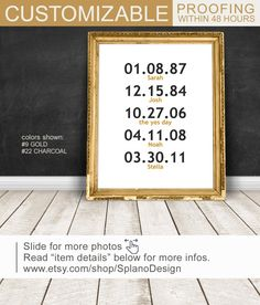 Modern family wall sign, Special Dates sign PRINT/CANVAS/DIGITAL, Wedding Anniversary Gift, Family birthdays wall decor, Important Date art by SplanoDesign on Etsy