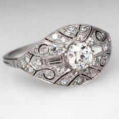 Antique 1930's Filigree Engagement Ring Platinum
