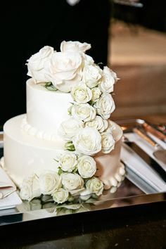 Petite Wedding Cake with Roses | Photography: KingenSmith. Read More: http://www.insideweddings.com/weddings/timeless-ivory-gold-wedding-with-scottish-traditions-in-chicago/727/