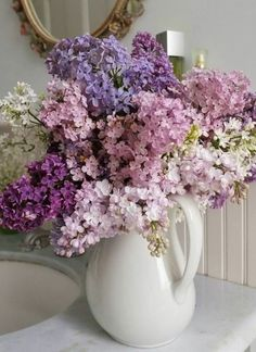 White, purple and pink lilac flowers