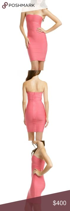 aeb377a77db0 Herve Leger Coral Strapless Dress Gorgeous superrrr sexy Herve Leger  Stapless dress!! 100%