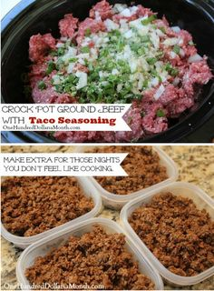 Crock Pot Ground Beef w/ Taco Seasoning - One Hundred Dollars a Month Ground Beef Crockpot Recipes, Crockpot Dessert Recipes, Mexican Food Recipes, Kitchen Recipes, Kitchen Tips, Cooker Recipes, Beef Seasoning Recipe, Ground Beef Seasoning, Taco Seasoning