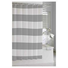 Kassatex Hampton Stripe Shower Curtain - Grey (guest bath)
