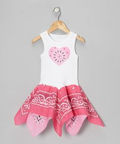 White & Pink Heart Handkerchief Dress - Toddler & Girls | Daily deals for moms, babies and kids