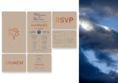 Custom printed wedding invitation Kit blue Klein and copper, cardboard RSVP, carton brunch, industrial marriage modern city