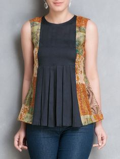 Multi-Colour Kantha Embroidered Pleated Sleeveless Cotton-Silk Top by Simply Kitsch Designs For Dresses, Dress Neck Designs, Blouse Designs, Short Kurti Designs, Kurta Designs Women, Fancy Tops, Frock Design, Fashion Outfits, Cotton Silk
