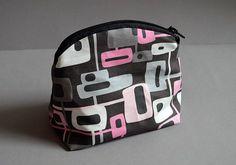 Make-up Bag - Fun square pattern - summer time travel bag.