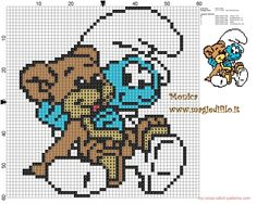 Baby smurf with teddy bear cross stitch pattern  (click to view)
