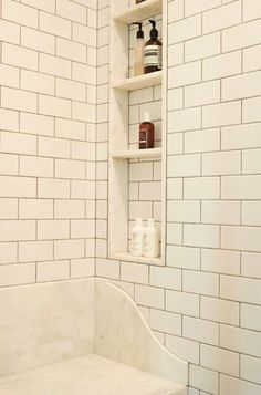 Shower Niches Between the Studs - w/ slight slant forward for water drainage