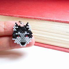 Beaded Wolf Charm Brick Stitch Beading Seed Bead by BeadCrumbs