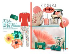 """Coral and green"" by tiffany-closet ❤ liked on Polyvore featuring Essie, NARS Cosmetics, Sensai, Oasis, Janna Conner Designs, Gucci, women's clothing, women, female and woman"