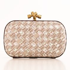 Bottega Veneta Printed Leather Woven Clutch
