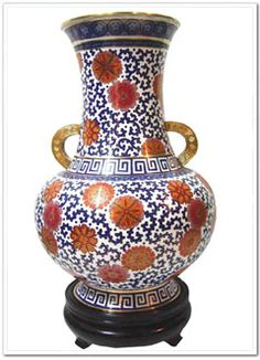 Chinese Cloisonne Vase, Chinese Cloisonne is the art of applying colored enamels to the surface of a metal object, which is then fired to become a beautiful work of art. Cloisonne originated in Beijing, and the technique reached its perfection as a result of the efforts of Chinese artisans. Chinese Cloisonne is now the standard by which the quality and beauty of Cloisonne is measured worldwide. It ranks as one of China's major contributions to the world's fine arts. The making of Cloisonne…