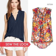 We want a closet full of tops like this one. Sew the look with McCall's M7094…