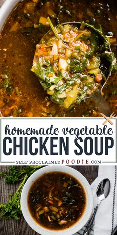 Chicken Vegetable Soup, made with homemade chicken broth and loaded with healthy veggies, is not only a delicious and satisfying meal, but it's nutritious. Cooker Recipes, Beef Recipes, Chicken Recipes, Ramen Recipes, Cod Recipes, Noodle Recipes, Fudge Recipes, Party Recipes, Sausage Recipes