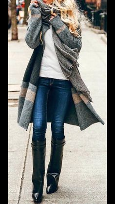 Stitch Fix Fall Fashion! Sign up today for your subscription box & your own personal stylist for $20! Colorblock long cardigan, white tee, jeans and boots. simple but fashionable.