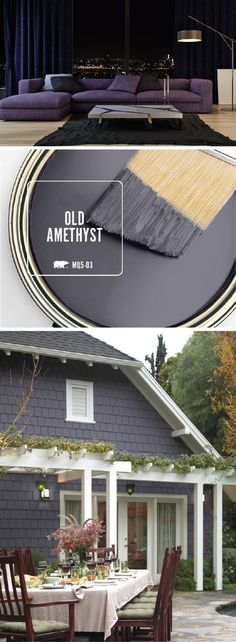 Check out the inspiration behind the BEHR Paint Color of the Month: Old Amethyst. This stunning dark gray color will add a touch of elegance to any room in your home. Pair with gold, silver, and white accents to make this modern paint color truly shine. House Paint Exterior, Exterior Paint Colors, Exterior House Colors, Gray Exterior, Siding Colors, Exterior Siding, Exterior Design, Front Door Paint Colors, Wall Exterior