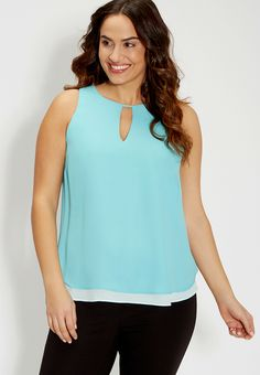 Plus Size Reversible Sleeveless Top With High-Low Hem In Sea Salt Green