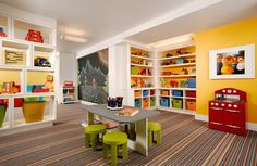 Eloquent Kids Basement Playroom Decoration Featuring Colorful Playroom Design Interior With Wall Shelves Treatment And Cute Wooden Dining Table Set On Straight Pattern Of Rug Ideas. Sheirma Home Decor