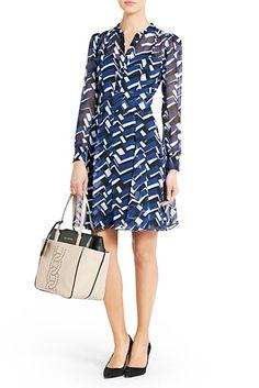 71fd9a0a489 Diane von Furstenberg Leandri Printed Chiffon Dress In Chevron Dust Navy -  ShopStyle Day