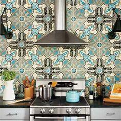 moroccan inspired tile backsplash in turquoise  black