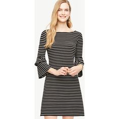 Ann Taylor Striped Ponte Flare Sleeve Dress ($110) ❤ liked on Polyvore featuring dresses, black, boatneck dress, boat neckline dress, striped dress, boat neck dress and flared sleeve dress
