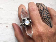 Sorceress raw crystal ring with rainbow moonstone by AuroraShadow