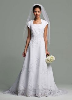 Short Sleeve Satin Gown with Beaded Lace - David's Bridal. This dress is absolutely beautiful! #ModestWeddingDresses