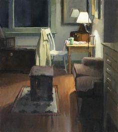 ◇ Artful Interiors ◇ paintings of beautiful rooms - JEFFREY REED  Night Studio (2007)