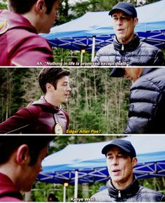 """""""Nothing in life is promised except death"""" - Wells and Barry, The Flash Supergirl Dc, Supergirl And Flash, The Flash Season 2, Flash Funny, The Flash Grant Gustin, Cw Dc, Dc Tv Shows, Fastest Man, Dc Legends Of Tomorrow"""
