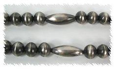 Navajo Pearls and Melon Beads by Virginia Tso Navajo Jewelry, Native American Beading, Virginia, Beaded Bracelets, Pearls, Sterling Silver, Native American Beadwork, Pearl Bracelets, Beads