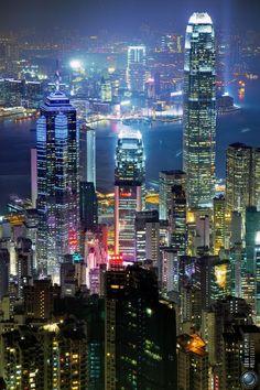 City Lights, Hong Kong, China. Beautiful place to travel !