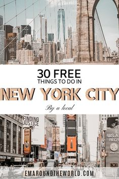 A complete guide to the 30 best FREE things to do in New York City and neighboring boroughs, such as Brooklyn and Staten Island. Highlights include upcoming events as well as classic attractions that are free to visitors all year round. Brooklyn Bridge, Brooklyn New York, Brooklyn Dumbo, New York City Manhattan, New York City Vacation, New York City Travel, New York Travel Guide, Central Park, Nyc Itinerary