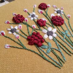 """847 Likes, 40 Comments - Beth   Forest Chorus Studio (@forestchorusstudio) on Instagram: """"Big french knots and little french knots.  I used all six strands of cotton DMC floss for the deep…"""""""