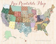 Free printable map! Printable shabby chic united states map from I Heart Family Travels.