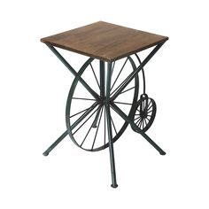 Bring some vintage charm to an entertaining space. This San Marcos Accent Table lifts spirits with its whimsical old-time bicycle theme. Crafted from wood and metal, its design potential is virtually l...  Find the San Marcos Accent Table, as seen in the Truth Coffee's Steampunk Revolution Collection at http://dotandbo.com/collections/truth-coffees-steampunk-revolution?utm_source=pinterest&utm_medium=organic&db_sku=107003