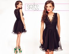 Short occasion dress made from black silk veil, with lace inserts around the cleavage and at the back: https://missgrey.ro/en/dresses/andra-black-dress/391?utm_campaign=iulie&utm_medium=rochie_andra_neagra&utm_source=pinterest_produs #littleblackdress #elegantdress