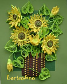 Fairy tale about quilling: Bouquet of sunflowers and mini MK